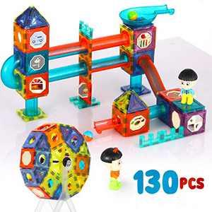 130pcs Magnetic Tiles Magnetic Blocks Toddler Toys, Colorful Geometric Shapes & Huge Wheel, 3D Building Blocks Magnets for Kids, Montessori Toys for 3+Year-Old Girls, Boys, STEM Toy Building Sets