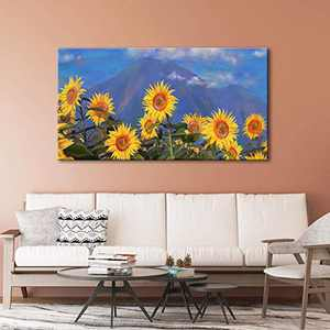 Sidart Large Flower Wall Art Decor Prints Florals Poster Framed Canvas Wall Art Decorations 24 Inches by 48 Inches 1 Panel Canvas Home and Office Decor Wall Art for Bedroom Living Room