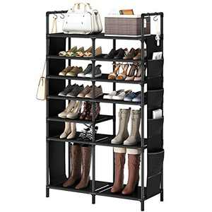 """ZERO JET LAG 60""""H Shoe Rack Boots Storage Organizer 7 Tiers Closet Entryway Shelf Stackable Cabinet Tower Double Row Non-Woven Fabric Metal 30-35 Pairs Black"""