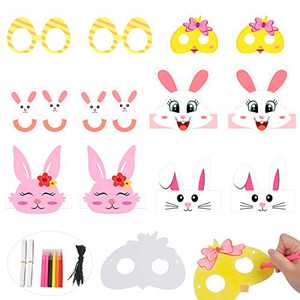 CCINEE 12PCS Easter Headband Mask Crafts Kit,Bunny Paper Headband Graffiti Mask with Paint Pens for Kids DIY Art Craft Party Supply