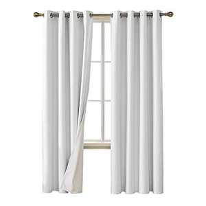Deconovo Faux Linen Blackout Curtains with 3 Pass Coating Sun Blocking Thermal Insulated Room Darkening Grommet Curtains Panels for Bedroom 52 x 108 Inch 2 Panels Star White