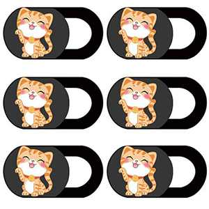 AHPAND Webcam Cover Laptop Web Camera Cover Ultra Thin Slide for Laptop, Desktop, PC, MacBook Pro, iMac, Mac Mini, Computer, Smartphone,Protect Your Privacy and Security (6 Pack Cat)