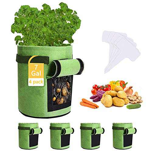 Potato Grow Bags,4 Pack 7 Gallon Felt Potatoes Growing Containers with Handles&Access Flap for Vegetables,Tomato,Carrot, Onion,Fruits,Plants Planting Planter