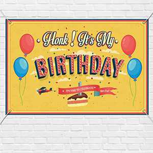 """Happy Birthday Banner - Houk! It's My Birthday, Birthday Party Decoration Hanging Banners Signs Outdoor Home Door Porch Décor, Fabric Porch Sign, Quarantine Banner 71"""" x 47.2"""""""