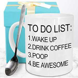 Funeon Funny Coffee Mug Funny Gifts for Men Dad Woman Friends Birthday Christmas Gag Gift Ideas for Him Her To Do List Wake Up Drink Coffee Be Awesome Motivational Novelty Coffee Mugs