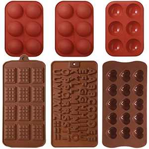 6 Pieces Silicone Molds Set, 6 Holes Semi Sphere Silicone Mold, Half Ball Shape Silicone Mold Heart Cake Mold Letter Chocolate Shape Baking Mold for Making Chocolate, Pudding, Cake, Candy