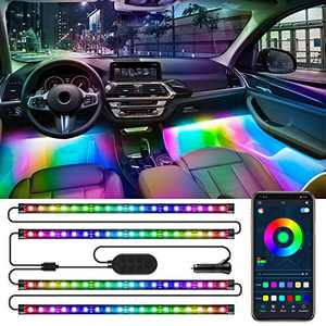 Specell RGBIC Interior Car Led Light, 4Pcs 72 LED Music Sync Car Led Strip Lights with App and Control Box, Waterproof Multicolor Scene Options Auto Interior Lighting Kit for Vehicle, Trucks, SUVs