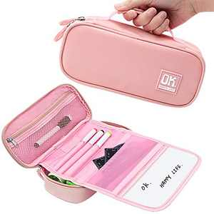 Big Capacity Multifunctional Pencil Case,Creative Canvas Pencil Pouch,Pencil Box Whiteboard Stationery Box for Kids School Teen Girl Boy Men Women(Pink)
