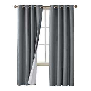 Deconovo Faux Linen Blackout Curtains with 3 Pass Coating Sun Blocking Thermal Insulated Room Darkening Grommet Curtains Panels for Bedroom 52 x 108 Inch 2 Panels Grey
