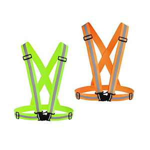 Chiwo Reflective Vest Running Gear 2Pack, High Visibility Adjustable Safety Ves for Night Cycling,Hiking, Jogging,Dog Walking (Green Orange)