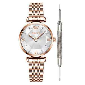 OLEVS White Gold Watches for Women Waterproof Prismatic Diamond Watch Cheap Luxury Fashion Watches for Women Fine Classy Steel Analog Quartz Watch Women Gold Ladies Watch