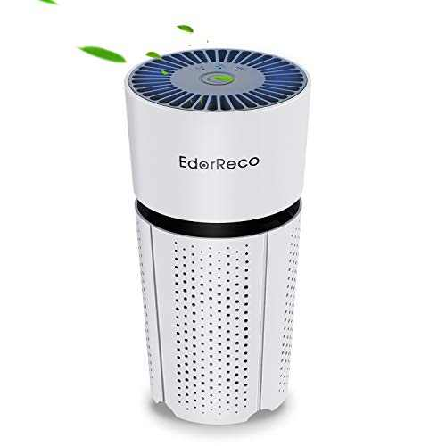 EdorReco H13 HEPA Filter Ultra-quiet Portable Air Purifier for Smoke, Pets, Dust Airborne Desktop Air Cleaner with USB Charge for Home Bedroom Office and Cars
