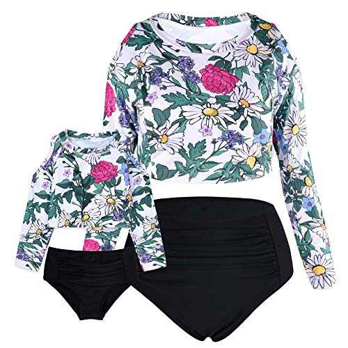 Cadocado Women Petite Swimsuit Two Piece Rash Guard High Waist Tummy Control Swimwear Long Sleeve,Floral,US 8