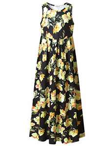 Floral Maxi Dress for Girls Long Dress with Pockets Flower Printed Dress for Party