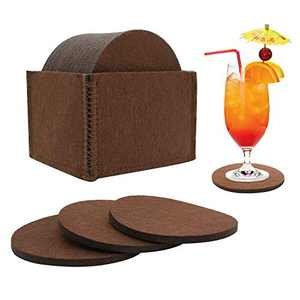 12PCS Felt Coasters for Drinks Absorbent with Multipurpose Holder,Drink Coaster Set,Coasters for Wooden Table Protection Home Office Coffee Table Decor - Housewarming Gift (Coffee Brown)