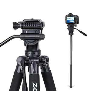2-in-1 Aluminum Alloy Camera Tripod Monopod 67'' with 1/4 inch Screws Fluid Drag Pan Head and Carry Bag for Nikon Canon DSLR Cameras Video Camcorders