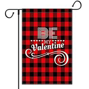 LARMOY Valentine Garden Flag for Outside Verical Double Sided,Red and Black Buffalo Plaid Valentine's Day Yard Decorations,Holiday Anniversary Wedding Seasonal Small Burlap Decorative Sign 12x18 Inch