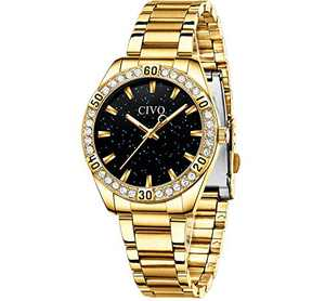 CIVO Women Watches Gold Waterproof Diamond Watches Lady Stainless Steel Dress Watch Luxury Design Analog Elegant Girls Wrist Watches for Women