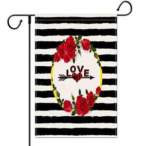 EKOREST Valentines Day Garden Flag for Outdoor 12×18 Inch Vertical Double Sided,Happy Valentines Day Signs Rose Arrow Love Heart Stripe for Outside Yard Anniversary Wedding Farmhouse Décor