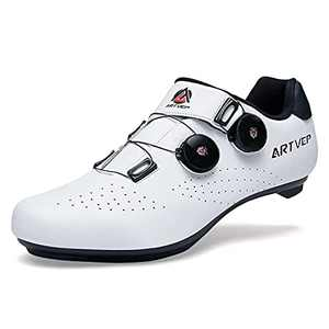 ARTVEP Mens Cycling Shoes Women Road Bikes Shoes Compatible with Look SPD SPD-SL Delta Cleats Spinning Peloton Shoes Indoor/Outdoor White 280