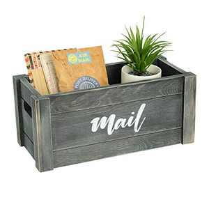 LOMODECO Large Rustic Mail Holder | Decorative Wooden Mail Organizer | Office Desk Organizer | Countertop Storage Box | Bill Holder | Farmhouse Home Decor (Rustic Gray)