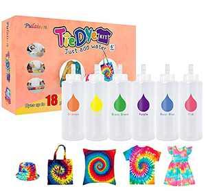 Tie Dye Kits, Tye Dye Kit, Double Refill Dyes, One-Step Fabric Dye Art Party Set, DIY Gift, Textile, T-Shirt, Canvas for Adults, Women, Men, Artist, Children, Party, Festival Gift…(6colors)