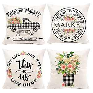 Hexagram Floral Farmhouse Pillow Covers 16x16 Inch Set of 4, Buffalo Plaid Spring Pillow Covers,Farmhouse Truck with Flower Summer Decorative Pillow Covers,Outdoor Home Couch Decor