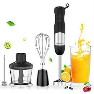 EdorReco 5-in-1 Immersion Hand Blender, 4-Point Stainless Steel Blade, 600W Motor, BPA-free & Dishwasher-safe Attachments: Milk Frother, Whisk, 20oz Measuring Cup & 17oz Chopper, Corded