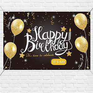 """chokeberry Happy Birthday Banner - Birthday Backdrop, Birthday Party Decoration Hanging Banners Signs Outdoor Home Door Porch Décor, Fabric Porch Sign, Quarantine Banner 71"""" x 47.2"""" Black"""