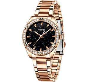 CIVO Women Watches Rose Gold Waterproof Diamond Watches Lady Stainless Steel Dress Watch Luxury Design Analog Elegant Girls Wrist Watches for Women