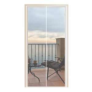 YUFER Magnetic Screen Door 38×96 Fiberglass Mesh Curtain Door Screen with Full Frame Hook&Loop - Fits Door Size 38x96 Inch Max,White…