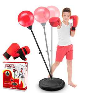 YOOVEE Punching Bag for Kids Incl Boxing Gloves , 3-6 Years Old Adjustable Kids Punching Bag with Stand , Boxing Bag Set Toy for Boys & Girls (Red)