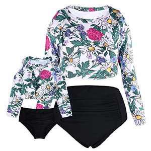 Cadocado Women Rash Guard Set Long Sleeve Swimsuits UPF 50+ Swim Shirt Bathing Suit Beachwear,Floral,US 16