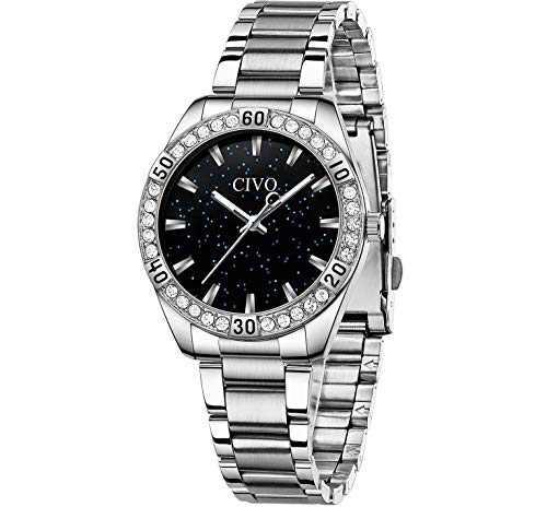 CIVO Women Watches Silver Waterproof Diamond Watches Lady Stainless Steel Dress Watch Luxury Design Analog Elegant Girls Wrist Watches for Women