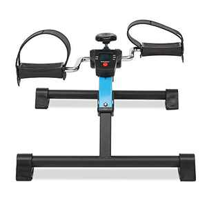 Lovinland Home Exerciser Mini Cycle Fitness Exercise Bike Mini Bike Hand and Foot Trainer Foldable New Blue