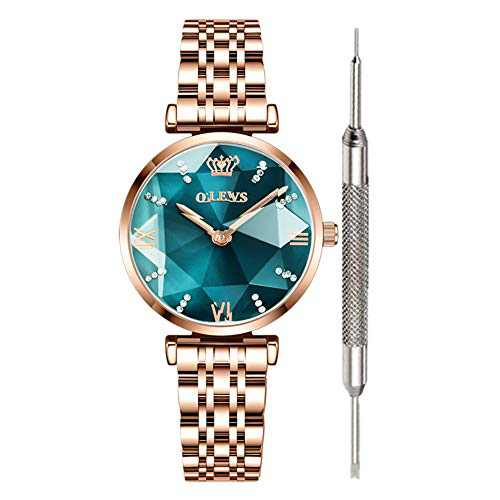 OLEVS Green Dial Watches for Women Waterproof Prismatic Diamond Watch Cheap Luxury Fashion Watches for Women Fine Green Stainless Steel Analog Quartz Watch Women Gold Ladies Watch