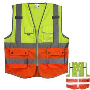 Treedeng 2XL Safety Vest Reflective with Pockets and Zipper for Industrial Safety High Visibility Yellow Orange Safety Vest