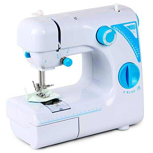 Sewing Machine for Beginners,Portable Sewing Machine That Can Be Switched to Electric or Pedal for Household Crafting Mending 19 Kinds of Sewing Stitch (Blue)