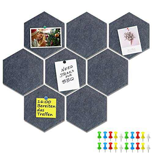 Yoillione Pin Board Hexagon Felt Board Tiles Self Adhesive Notice Board for Home and Office, Gray Bulletin Board Sticky DIY Memo Boards for Wall Hecorative with 20 Push Pins
