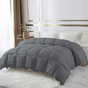 DROVAN 100% Cotton Quilted Down Comforter, Feather and Goose Duck Down Filling Duvet Insert, Soft Breathable for All Season, Grey, Twin