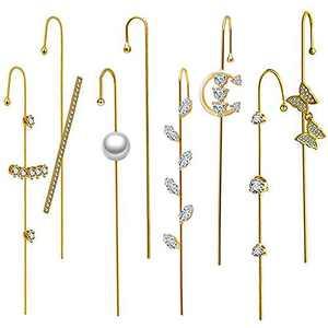 Ear Wrap Crawler Hook Earrings for Women, Unique Earrings Studs Alloy Ear Cuff Earrings Jewelry for Girls Birthday Valentine's Day (8 PCS Golden)