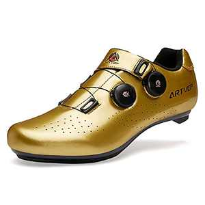 ARTVEP Mens Cycling Shoes Women Road Bikes Shoes Compatible with Look SPD SPD-SL Delta Cleats Spinning Peloton Shoes Indoor/Outdoor Gold 255