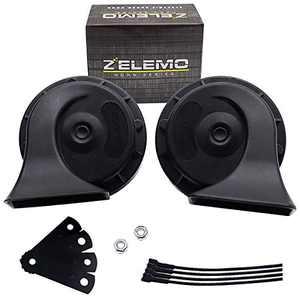 ZELEMO SH09A002 Waterproof Auto Horn 12V Car Horn Loud Dual-Tone Electric Snail Horn Kit Universal for Any 12V Vehicles Black
