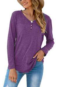 Queen's Here Womens Basic Tops Long Sleeve Casual Fall V Neck Cotton Tunic Shirt (Dark Purple, Large)