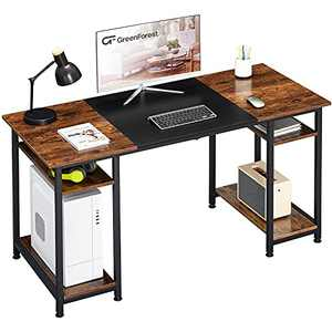 GreenForest Computer Desk with Tower Shelf Storage,Gaming Desk Laptop Table,Hold Two Monitors,Home Office Desk for Small Spaces,Brown and Black