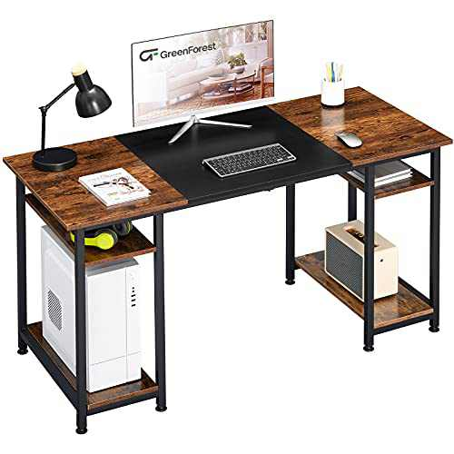 GreenForest Computer Desk 55 inch,Office Desk with Shelves,Modern Laptop Desk for Bedroom,Space Saving,Hold Two Monitors,Brown and Black