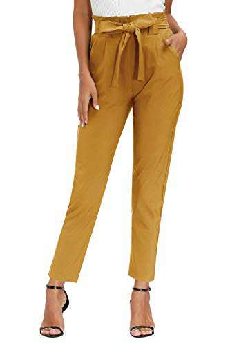 Yidarton Womens Cropped Pants Paper Bag Waist Self-tie Belted Pants Casual Trousers with Pockets (Yellow Pants, Large)