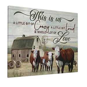 Farm Cute Cow Wall Art This Is Us Rustic Cow Canvas Print Farmhouse Barn Country Quotes Painting Family Artworks Home Decor For Bathroom Living Room Bedroom Framed Ready To Hang 16x20 Inch