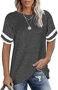 ALLTB Women's Casual Short Sleeve T-Shirts Color Block Summer Tunic Tops Loose Crewneck Tees Grey X-Large