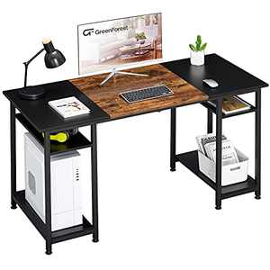 GreenForest Computer Desk with Shelves,47 inch Office Desk for Small Spaces,Writing Laptop Table,Space Saving,Black and Brown